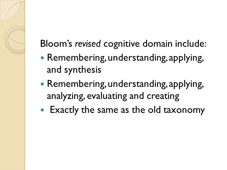 Bloom's revised cognitive domain include: Remembering, understanding, applying, and synthesis Remembering, understanding, applying, analyzing, evaluating and creating Exactly the same as the old taxonomy