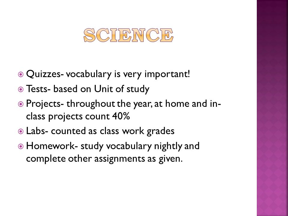  Quizzes- vocabulary is very important.