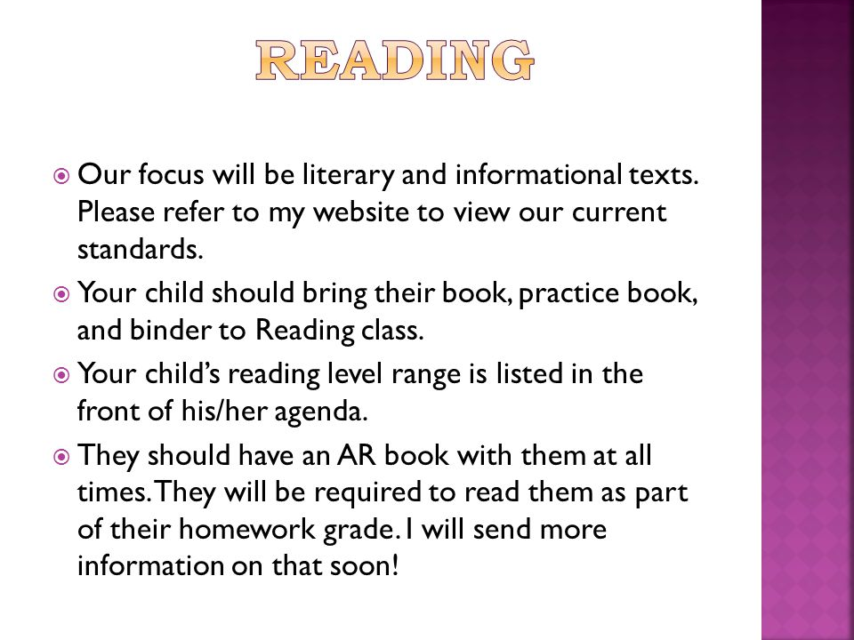  Our focus will be literary and informational texts.