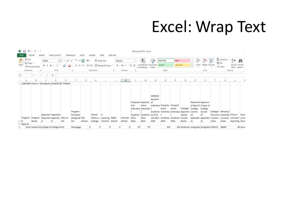 Excel: Wrap Text
