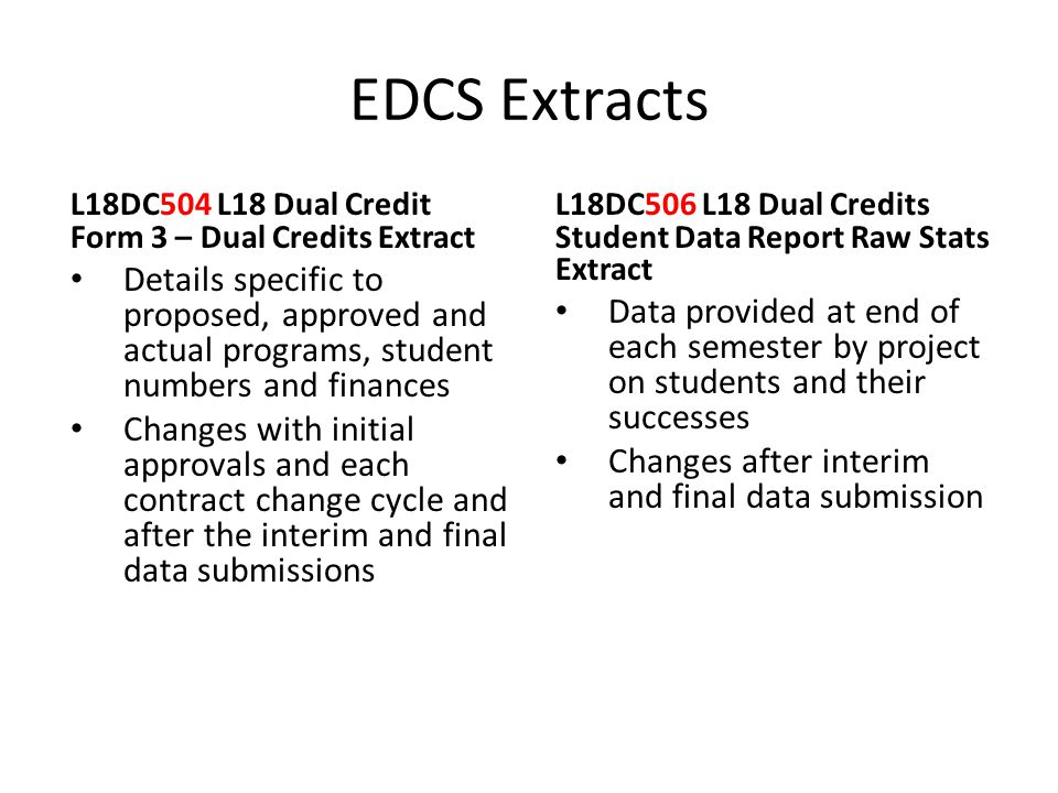 EDCS Extracts L18DC504 L18 Dual Credit Form 3 – Dual Credits Extract Details specific to proposed, approved and actual programs, student numbers and f