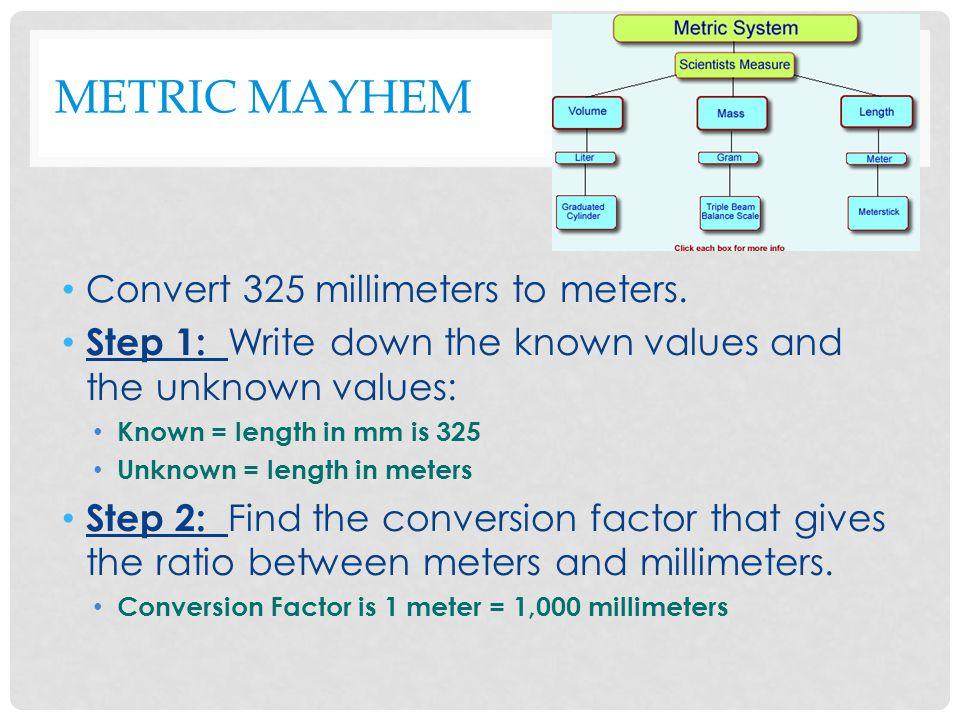 METRIC MAYHEM Convert 325 millimeters to meters.