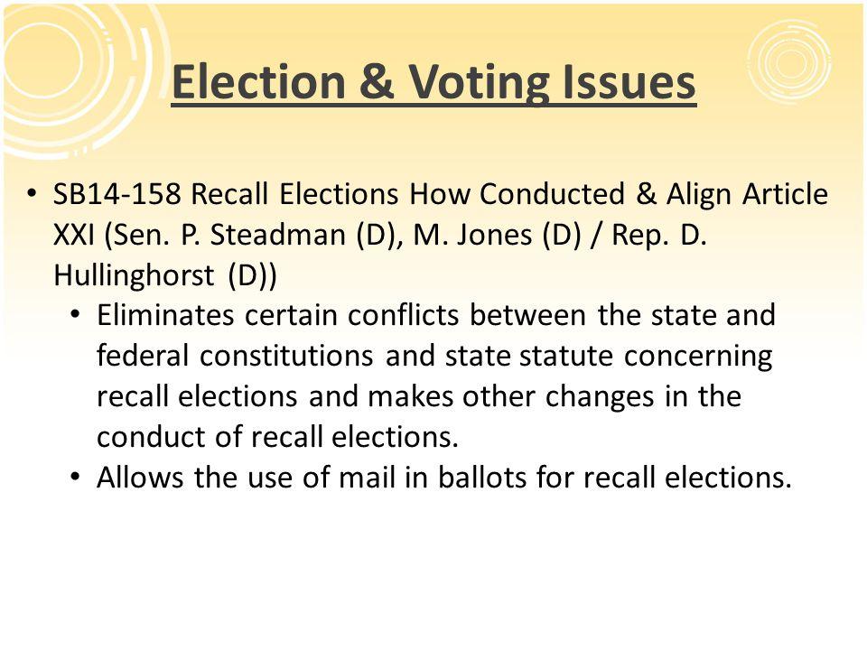 Election & Voting Issues SB14-158 Recall Elections How Conducted & Align Article XXI (Sen. P. Steadman (D), M. Jones (D) / Rep. D. Hullinghorst (D)) E