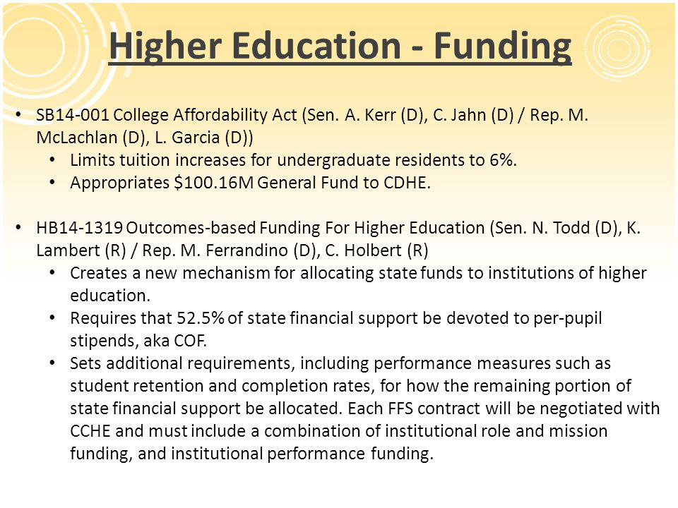 Higher Education - Funding SB14-001 College Affordability Act (Sen.