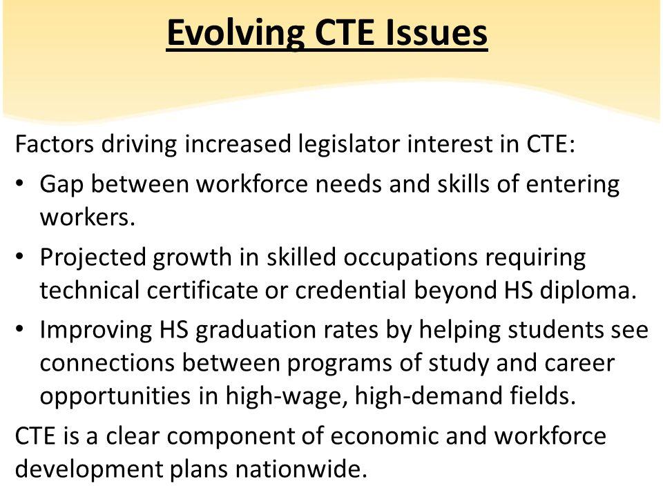 Evolving CTE Issues Factors driving increased legislator interest in CTE: Gap between workforce needs and skills of entering workers. Projected growth