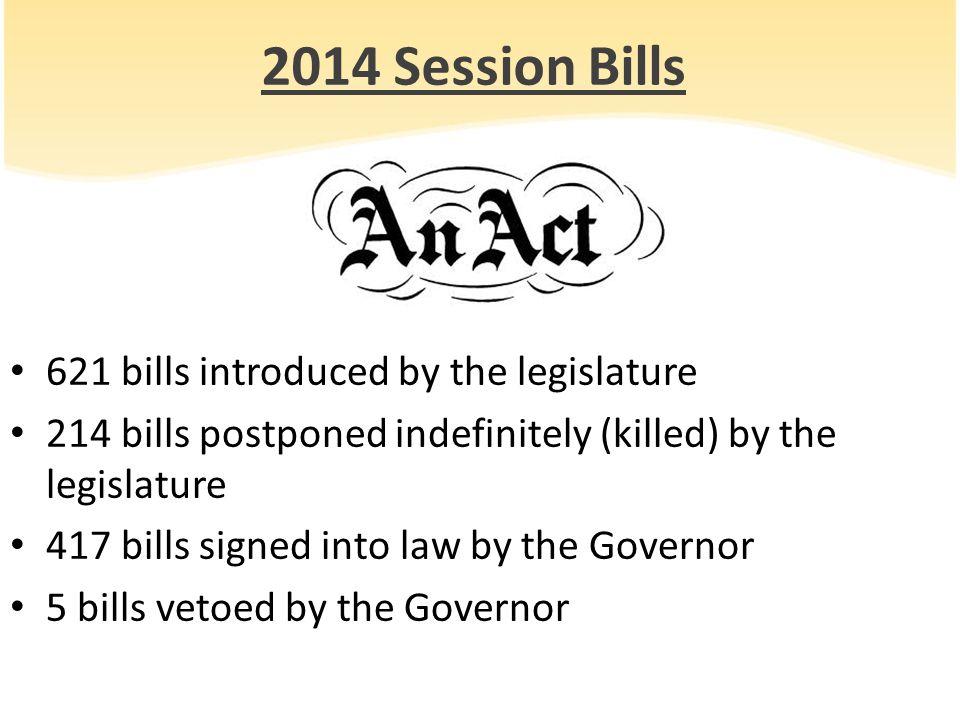 2014 Session Bills 621 bills introduced by the legislature 214 bills postponed indefinitely (killed) by the legislature 417 bills signed into law by t