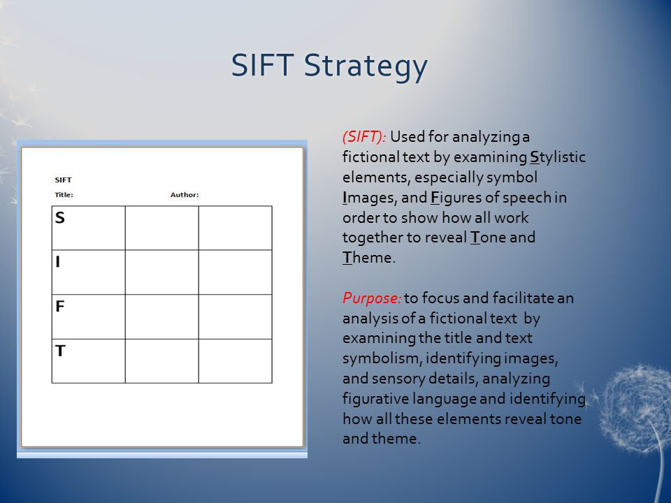 SIFT StrategySIFT Strategy (SIFT): Used for analyzing a fictional text by examining Stylistic elements, especially symbol Images, and Figures of speec