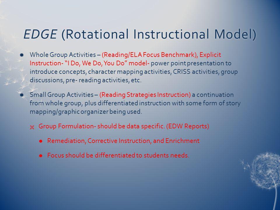 EDGE (Rotational Instructional Model)EDGE (Rotational Instructional Model)  Whole Group Activities – (Reading/ELA Focus Benchmark), Explicit Instruct