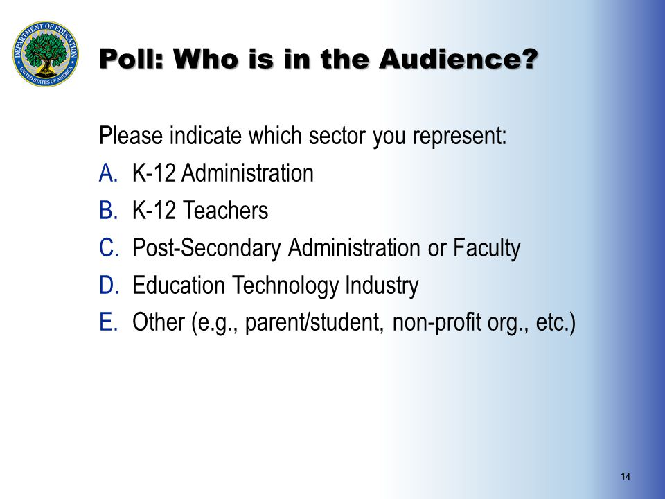 Poll: Who is in the Audience.