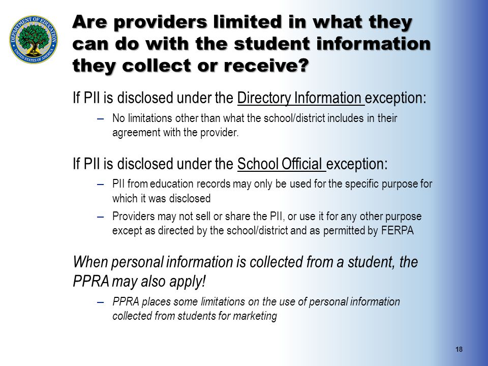 Are providers limited in what they can do with the student information they collect or receive.