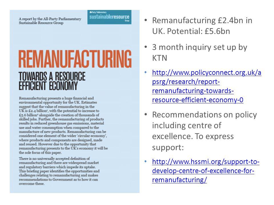 Remanufacturing £2.4bn in UK.