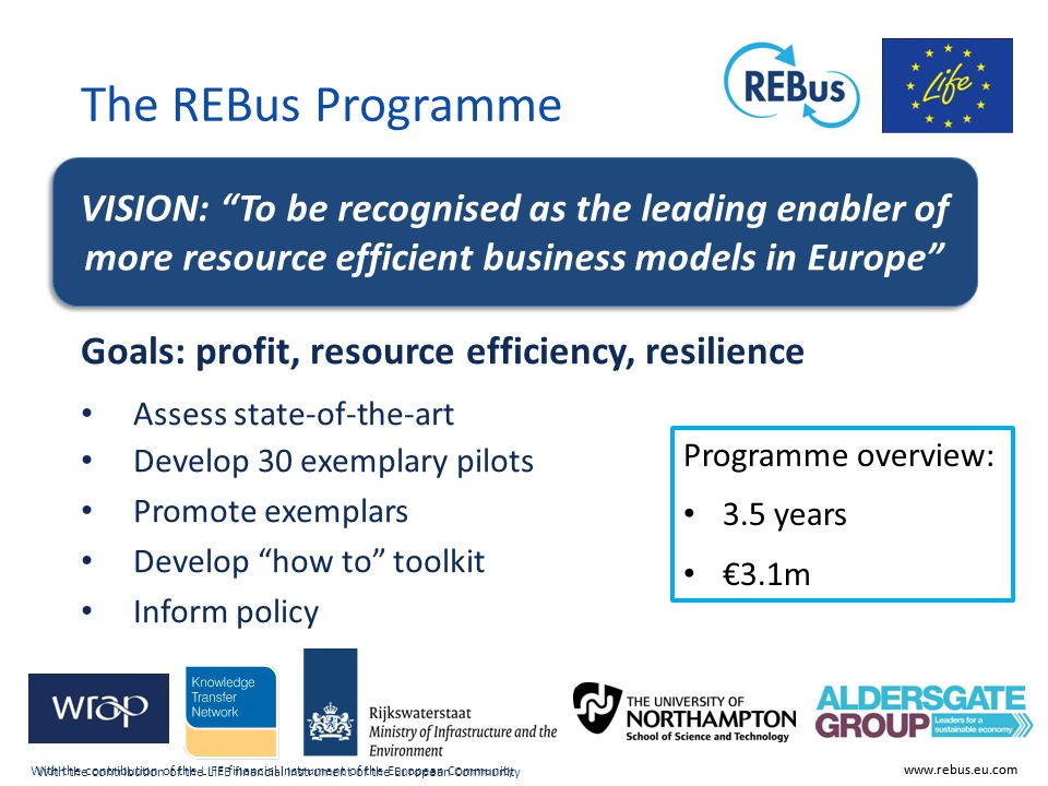 With the contribution of the LIFE financial instrument of the European Community www.rebus.eu.com The REBus Programme Goals: profit, resource efficien