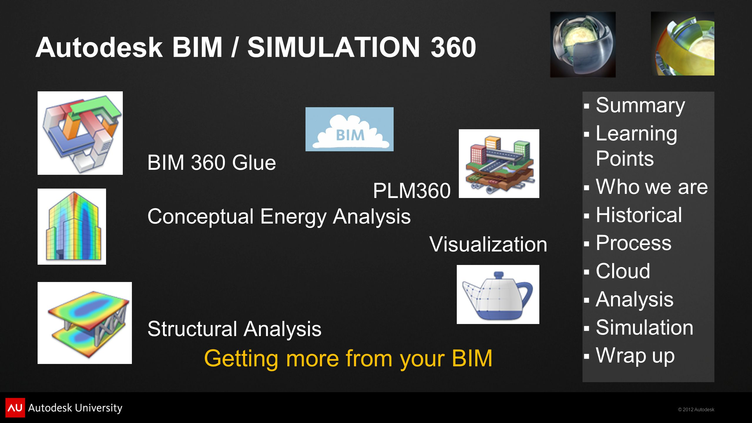 © 2012 Autodesk  Summary  Learning Points  Who we are  Historical  Process  Cloud  Analysis  Simulation  Wrap up Autodesk BIM / SIMULATION 360 BIM 360 Glue PLM360 Conceptual Energy Analysis Visualization Structural Analysis Getting more from your BIM