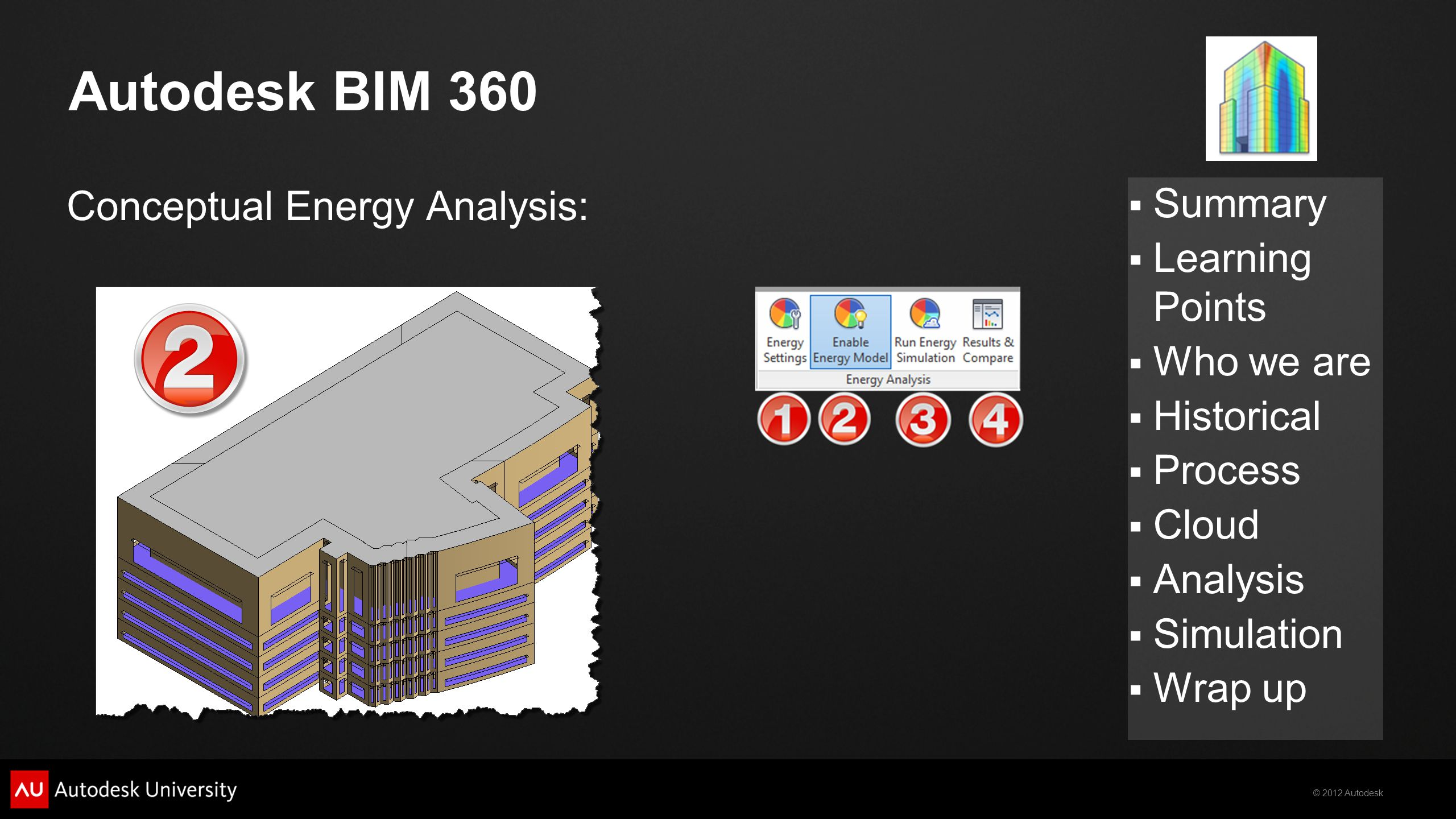 © 2012 Autodesk  Summary  Learning Points  Who we are  Historical  Process  Cloud  Analysis  Simulation  Wrap up Autodesk BIM 360 Conceptual Energy Analysis: