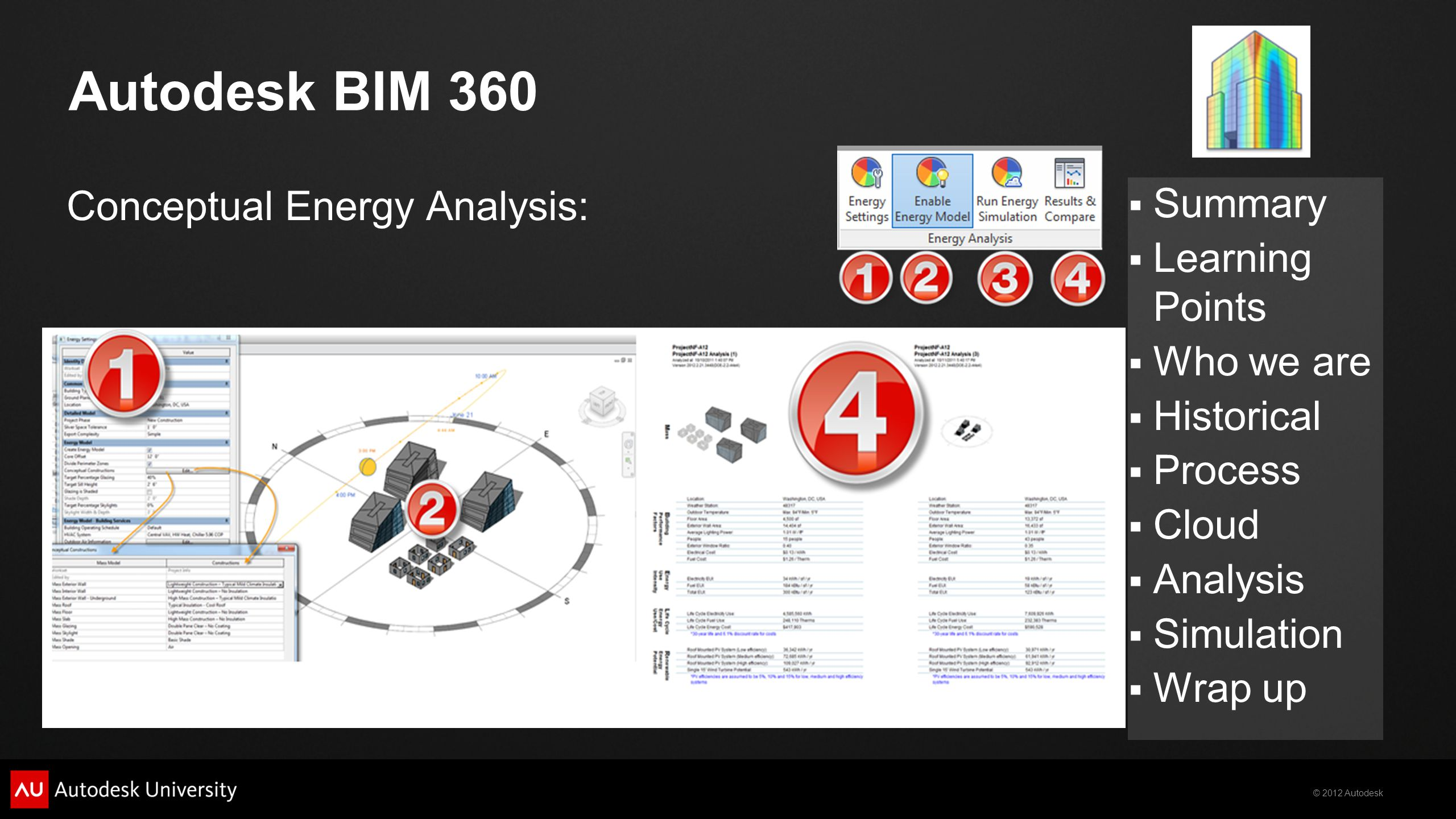 © 2012 Autodesk  Summary  Learning Points  Who we are  Historical  Process  Cloud  Analysis  Simulation  Wrap up Autodesk BIM 360 Conceptual