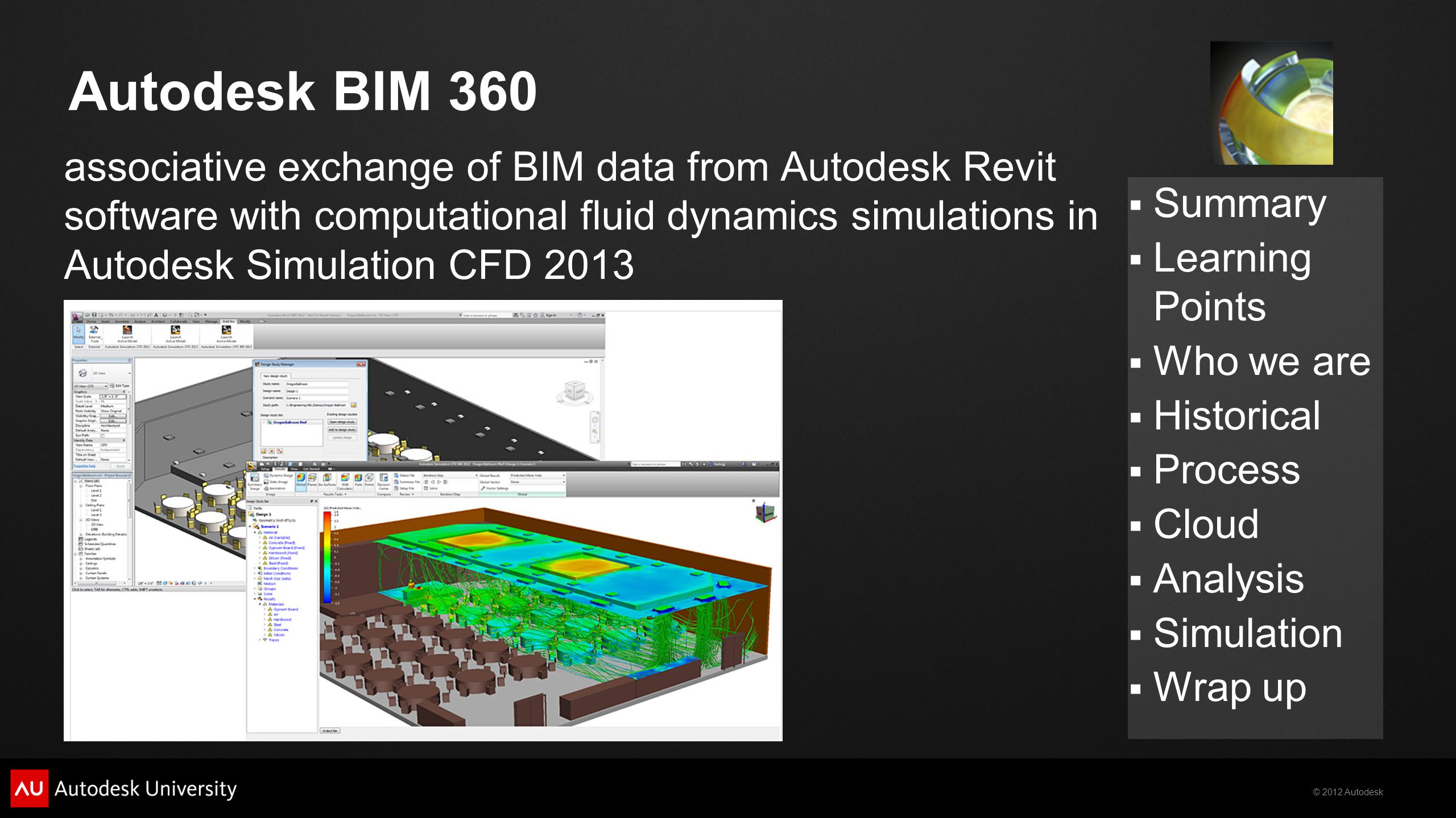 © 2012 Autodesk  Summary  Learning Points  Who we are  Historical  Process  Cloud  Analysis  Simulation  Wrap up Autodesk BIM 360 associative exchange of BIM data from Autodesk Revit software with computational fluid dynamics simulations in Autodesk Simulation CFD 2013