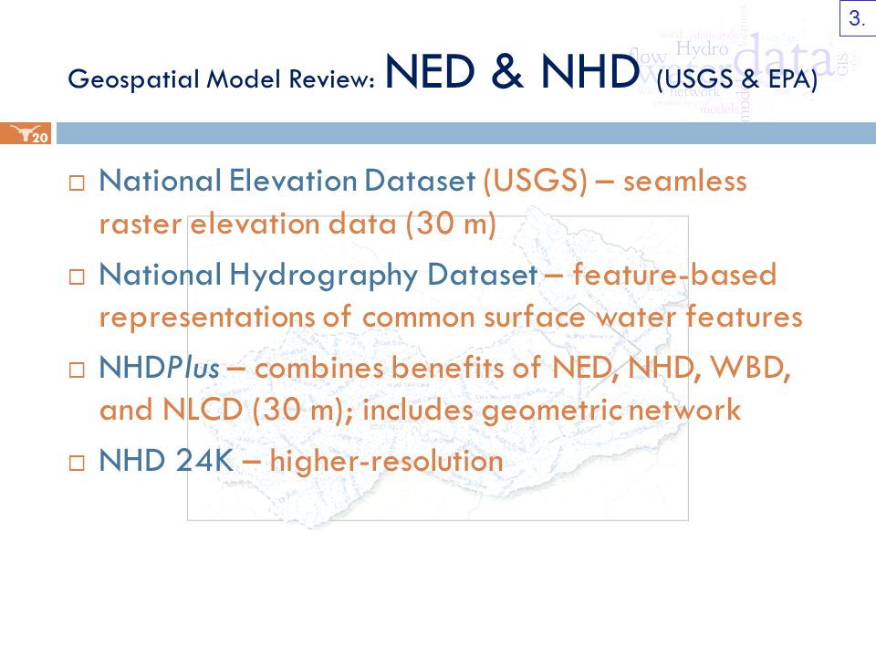 Geospatial Model Review: NED & NHD (USGS & EPA)  National Elevation Dataset (USGS) – seamless raster elevation data (30 m)  National Hydrography Dataset – feature-based representations of common surface water features  NHDPlus – combines benefits of NED, NHD, WBD, and NLCD (30 m); includes geometric network  NHD 24K – higher-resolution 20 3.