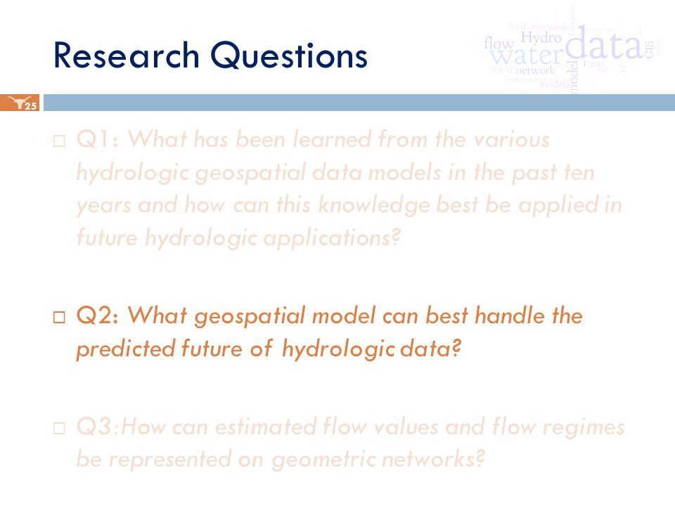 Research Questions  Q1: What has been learned from the various hydrologic geospatial data models in the past ten years and how can this knowledge best be applied in future hydrologic applications.