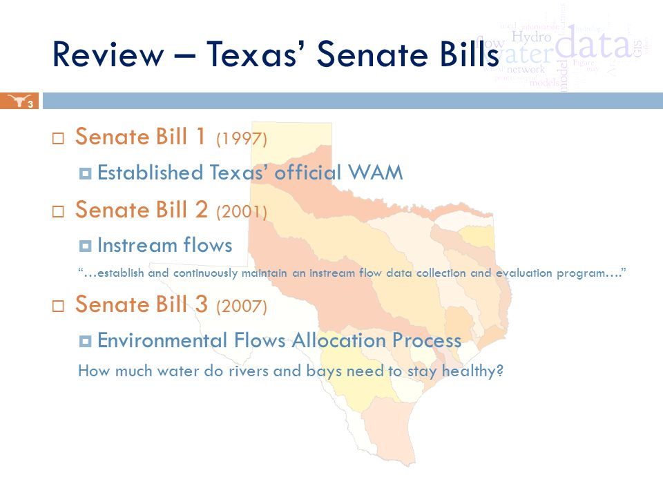 Review – Texas' Senate Bills  Senate Bill 1 (1997)  Established Texas' official WAM  Senate Bill 2 (2001)  Instream flows …establish and continuously maintain an instream flow data collection and evaluation program….  Senate Bill 3 (2007)  Environmental Flows Allocation Process How much water do rivers and bays need to stay healthy.