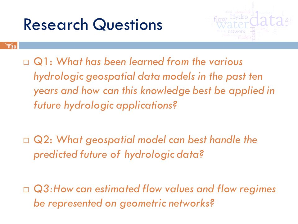 Research Questions  Q1: What has been learned from the various hydrologic geospatial data models in the past ten years and how can this knowledge best be applied in future hydrologic applications.
