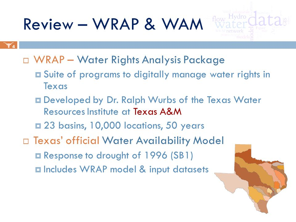 Review – WRAP & WAM  WRAP – Water Rights Analysis Package  Suite of programs to digitally manage water rights in Texas  Developed by Dr.