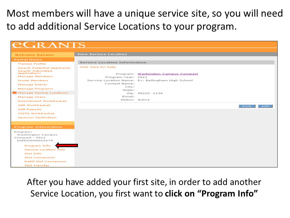 """After you have added your first site, in order to add another Service Location, you first want to click on """"Program Info"""" Most members will have a uni"""