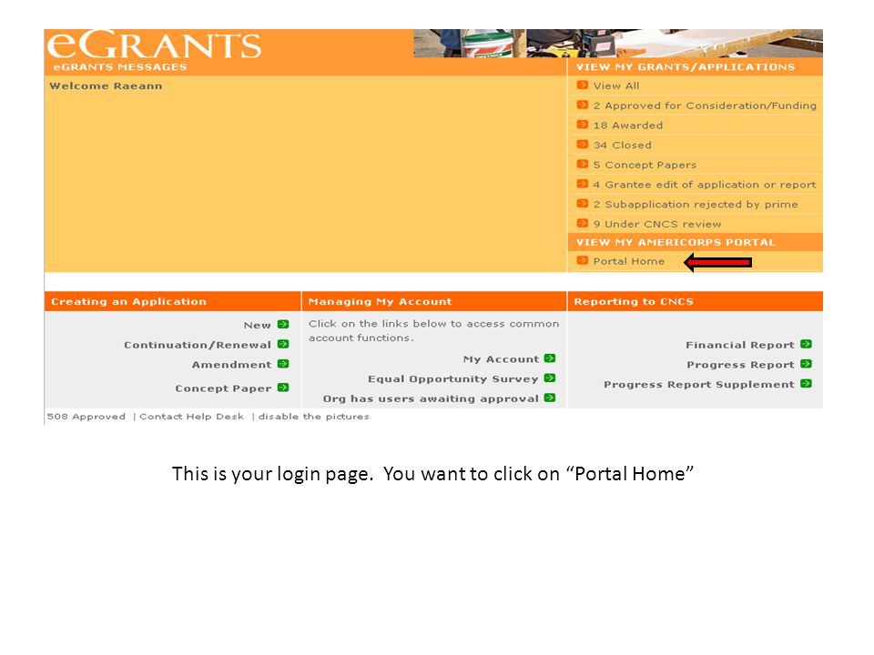 """This is your login page. You want to click on """"Portal Home"""""""