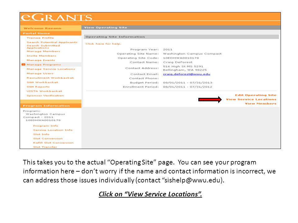 """This takes you to the actual """"Operating Site"""" page. You can see your program information here – don't worry if the name and contact information is inc"""