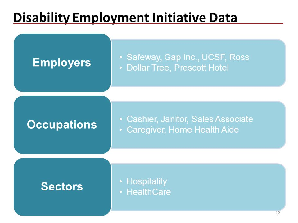 Disability Employment Initiative Data Safeway, Gap Inc., UCSF, Ross Dollar Tree, Prescott Hotel Employers Cashier, Janitor, Sales Associate Caregiver, Home Health Aide Occupations Hospitality HealthCare Sectors 12