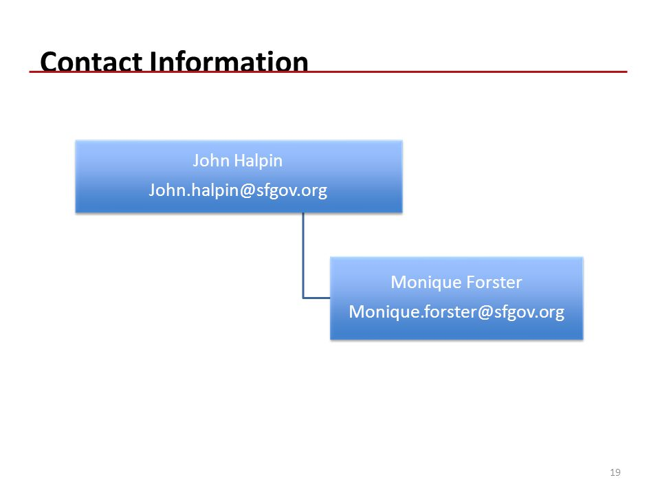 Contact Information John Halpin John.halpin@sfgov.org Monique Forster Monique.forster@sfgov.org 19