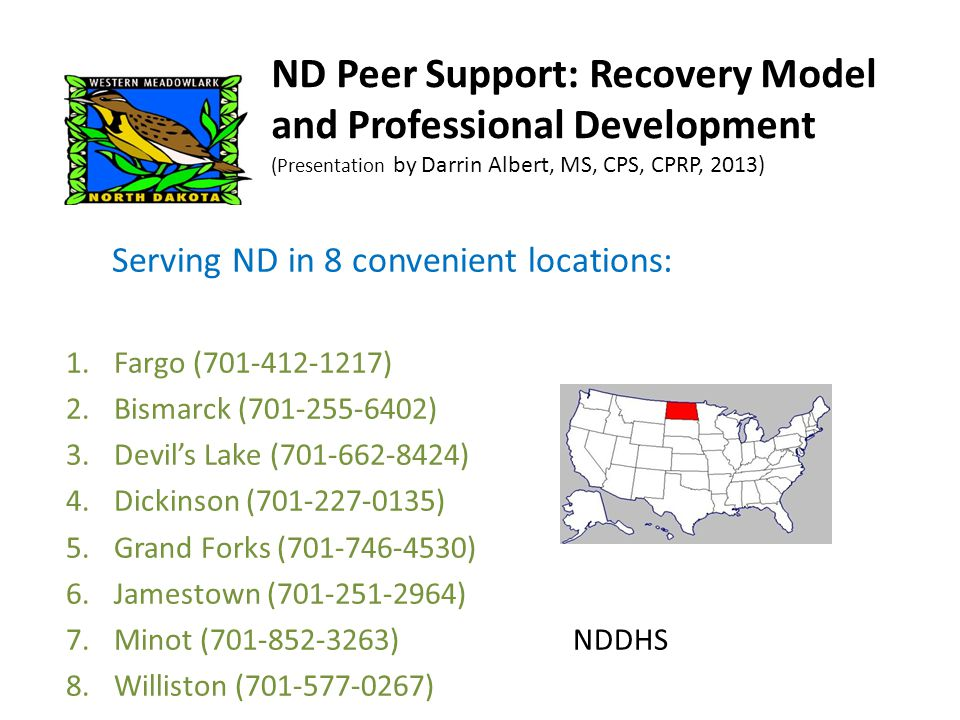 Current evidence-based practices of the recovery model Medication Management (MedMAP) Assertive Community Treatment (ACT) Supported Employment (SE) Illness Management and Recovery Education (IMR) Family Education Integrated Dual Diagnoses Treatment (IDDT) Promising best practices: Supported Education Peer Support Supported Housing
