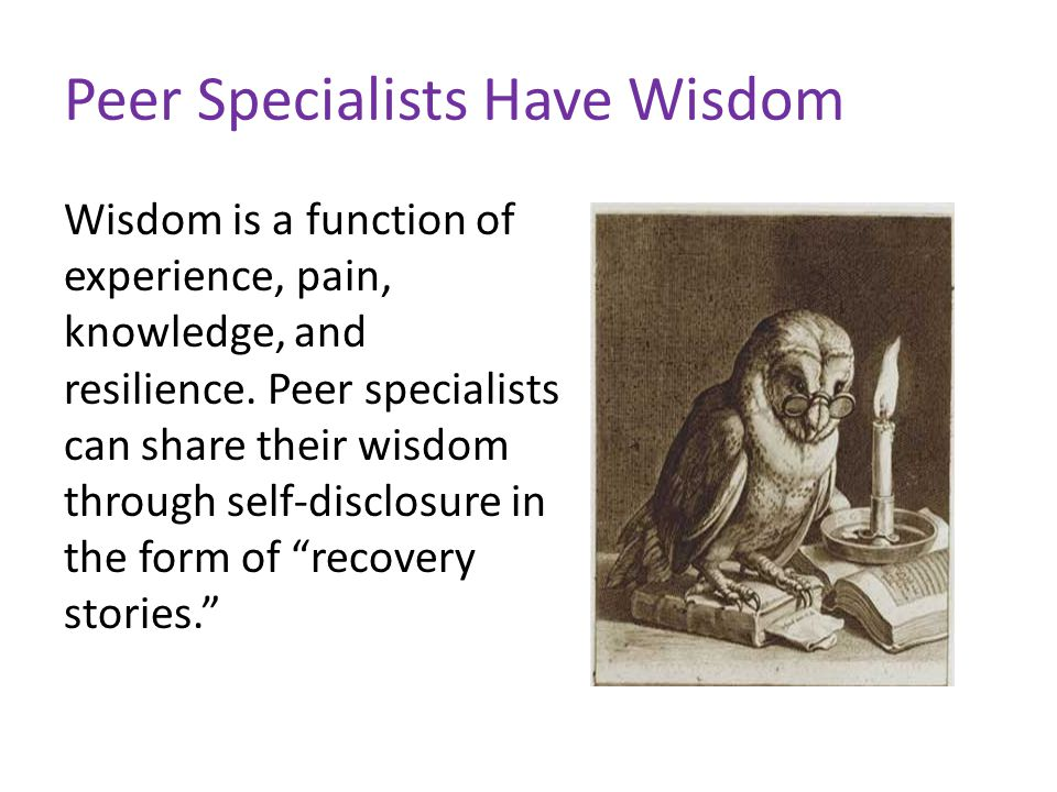 Peer counseling and the recovery model Peer support (also known as peer counseling) focuses on goal setting, WRAP, crisis management, strength-building, and wellness.