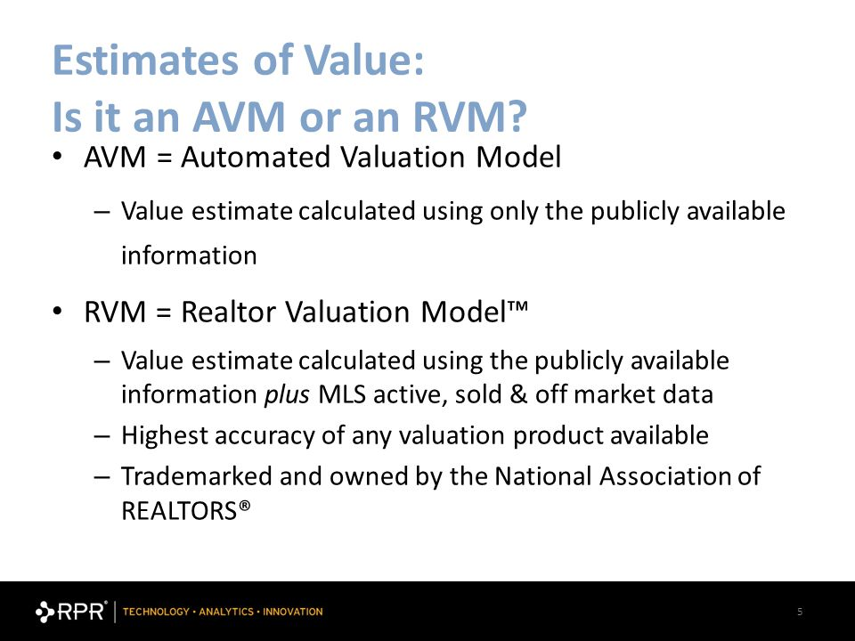 5 Estimates of Value: Is it an AVM or an RVM.