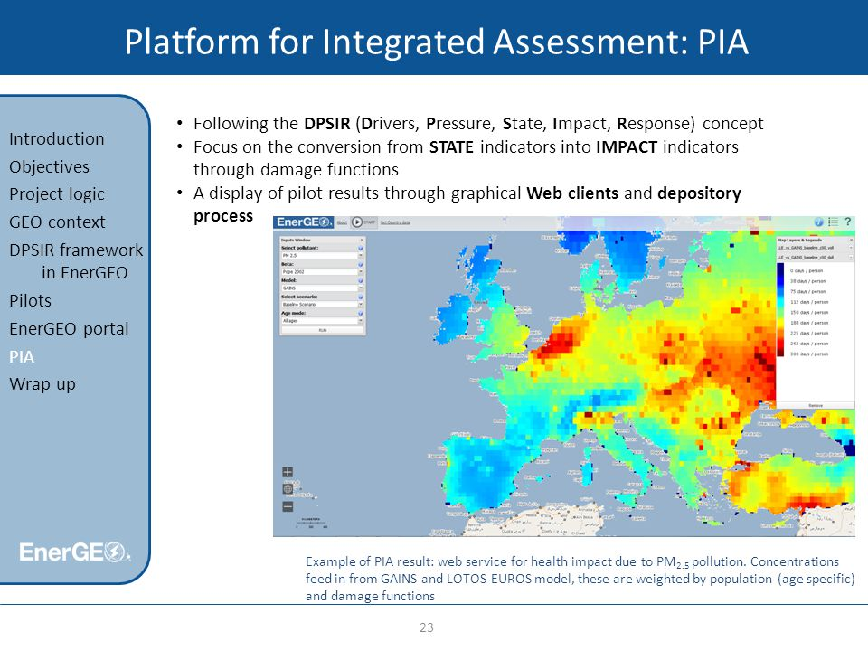Platform for Integrated Assessment: PIA 23 Introduction Objectives Project logic GEO context DPSIR framework in EnerGEO Pilots EnerGEO portal PIA Wrap