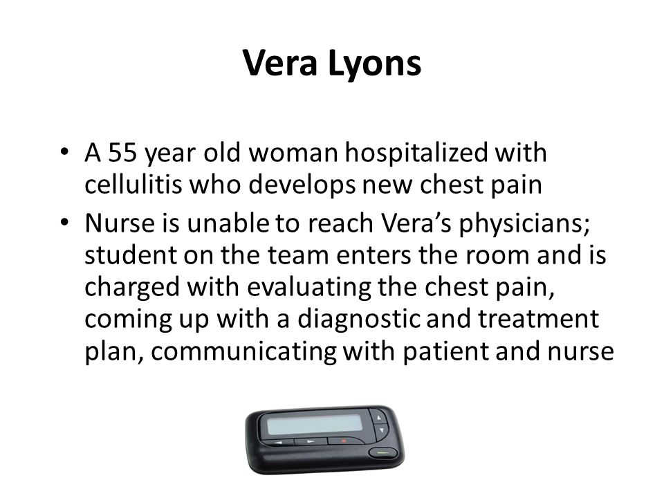 Vera Lyons A 55 year old woman hospitalized with cellulitis who develops new chest pain Nurse is unable to reach Vera's physicians; student on the team enters the room and is charged with evaluating the chest pain, coming up with a diagnostic and treatment plan, communicating with patient and nurse