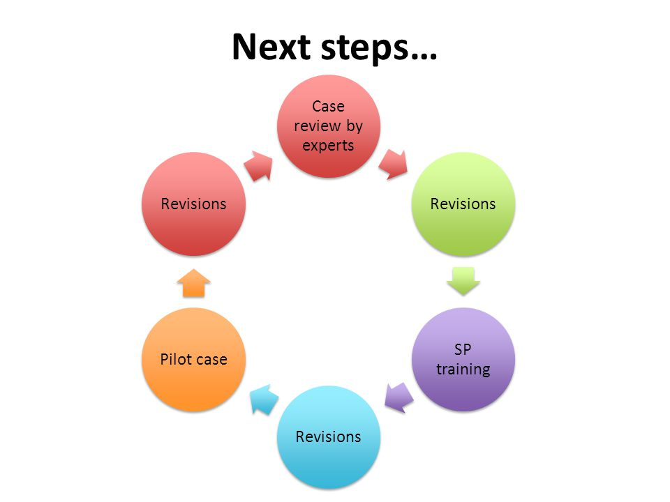 Next steps… Case review by experts Revisions SP training RevisionsPilot caseRevisions