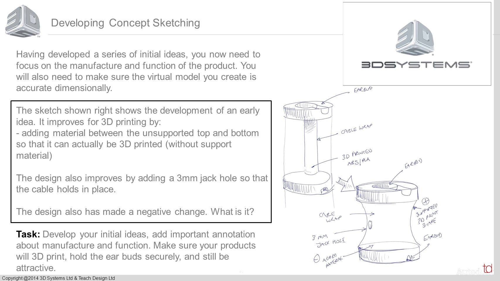© 2012 Autodesk Copyright @2014 3D Systems Ltd & Teach Design Ltd Developing Concept Sketching Having developed a series of initial ideas, you now need to focus on the manufacture and function of the product.