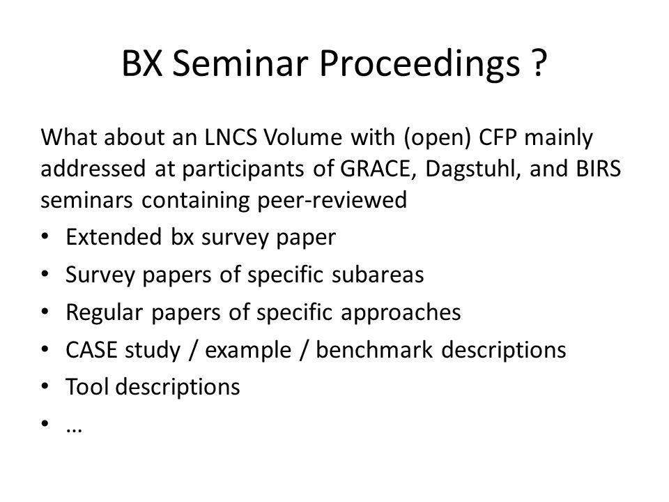 BX Seminar Proceedings .