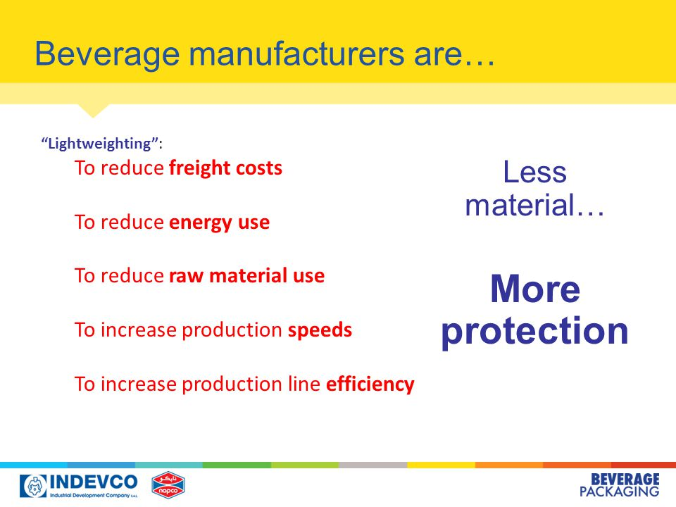 Beverage manufacturers are… Lightweighting : To reduce freight costs To reduce energy use To reduce raw material use To increase production speeds To increase production line efficiency Less material… More protection