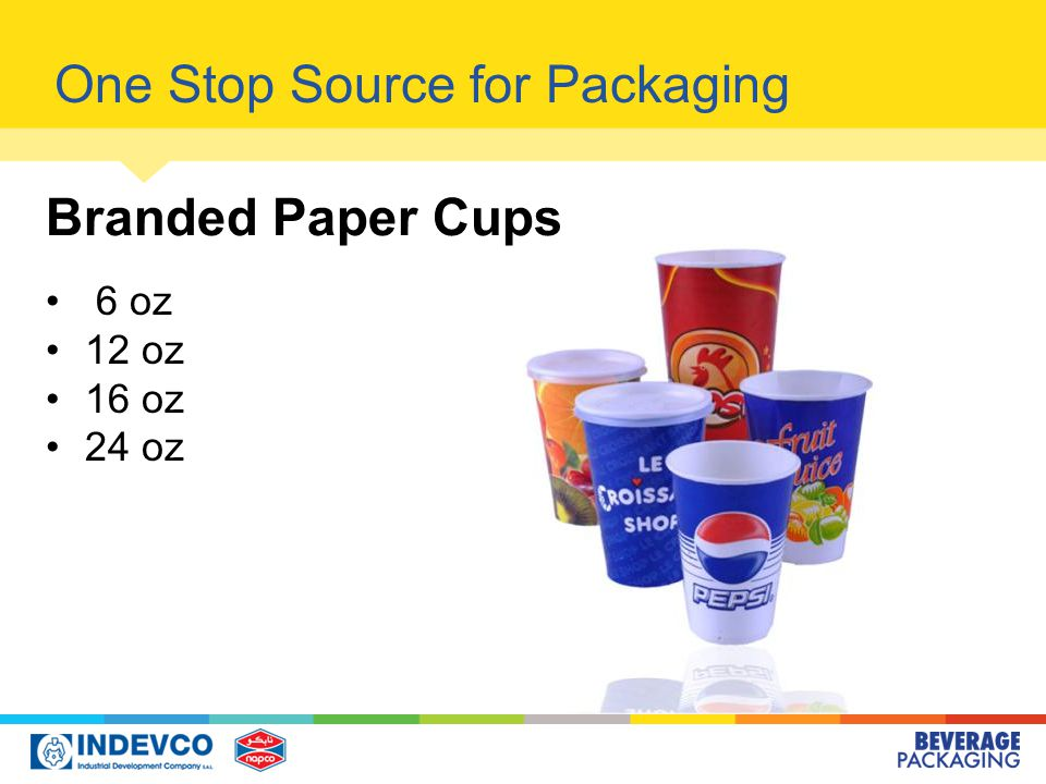 6 oz 12 oz 16 oz 24 oz One Stop Source for Packaging Branded Paper Cups