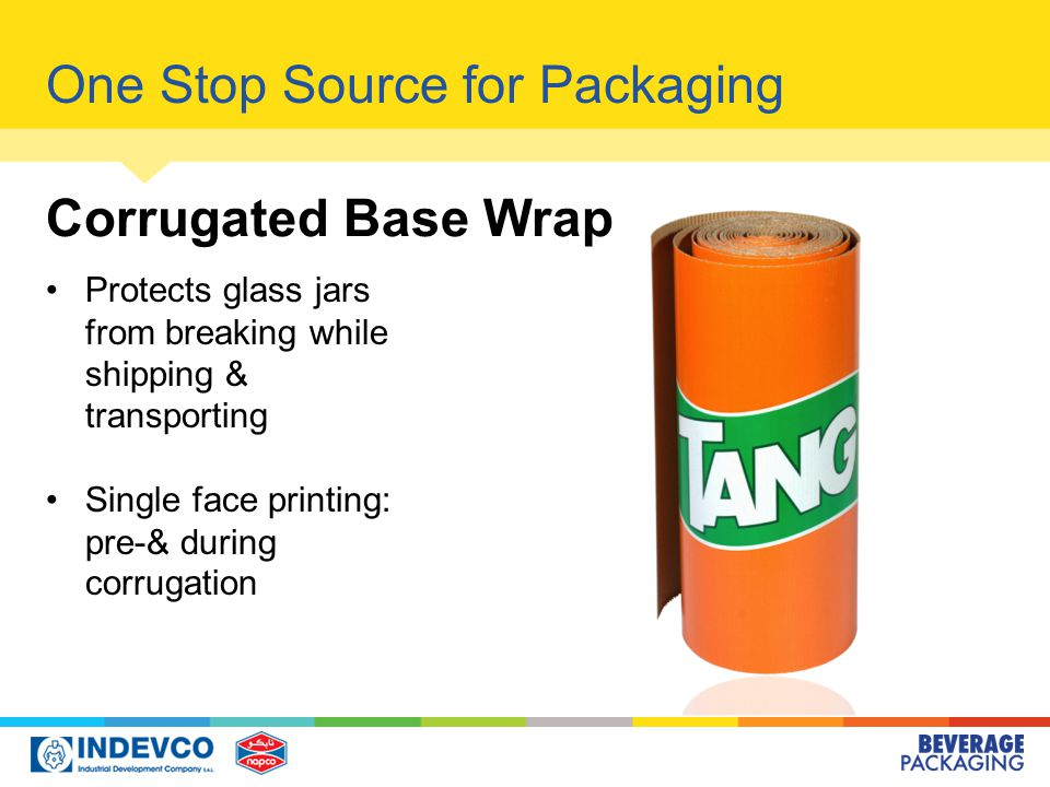 One Stop Source for Packaging Corrugated Base Wrap Protects glass jars from breaking while shipping & transporting Single face printing: pre-& during corrugation