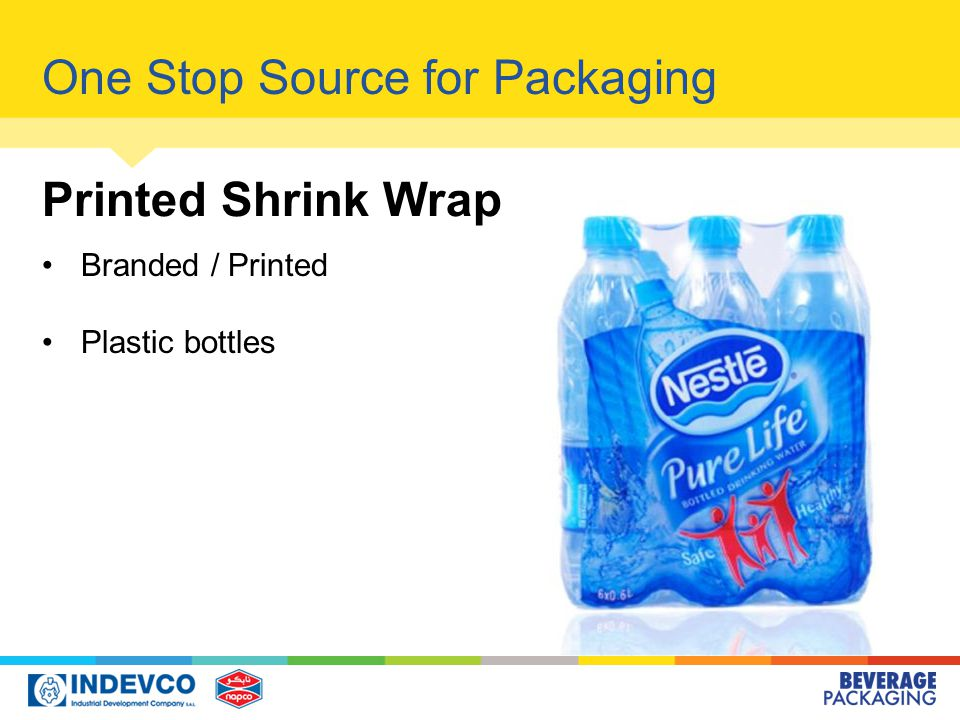 One Stop Source for Packaging Printed Shrink Wrap Branded / Printed Plastic bottles