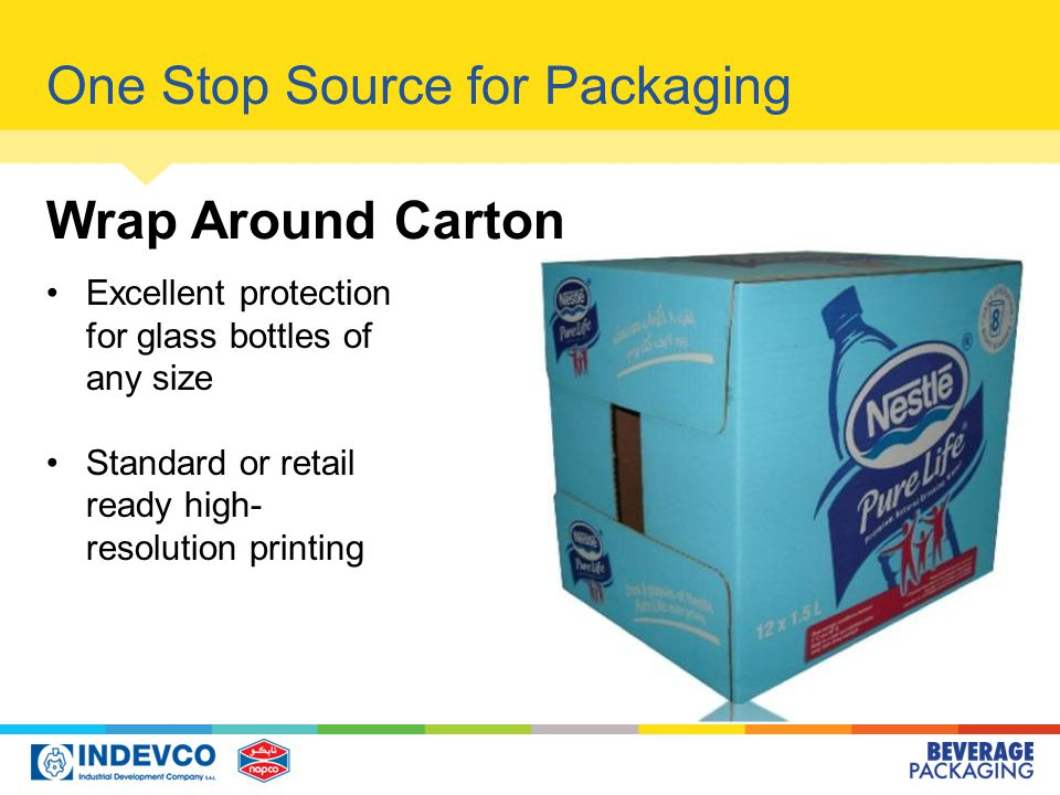 One Stop Source for Packaging Wrap Around Carton Excellent protection for glass bottles of any size Standard or retail ready high- resolution printing