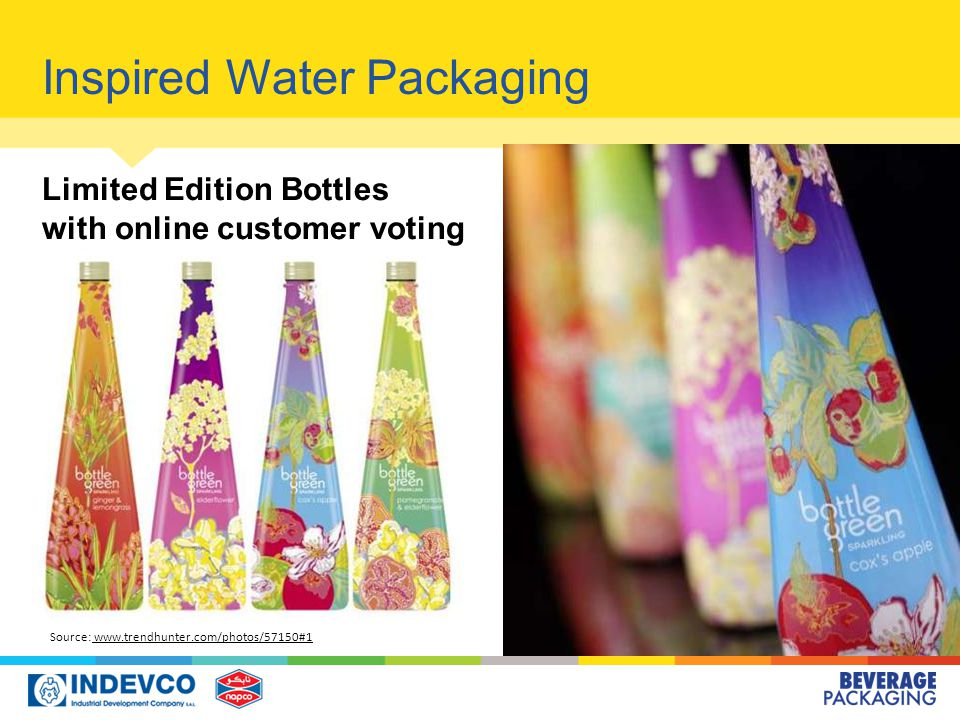 Inspired Water Packaging Source: www.trendhunter.com/photos/57150#1 www.trendhunter.com/photos/57150#1 Limited Edition Bottles with online customer voting