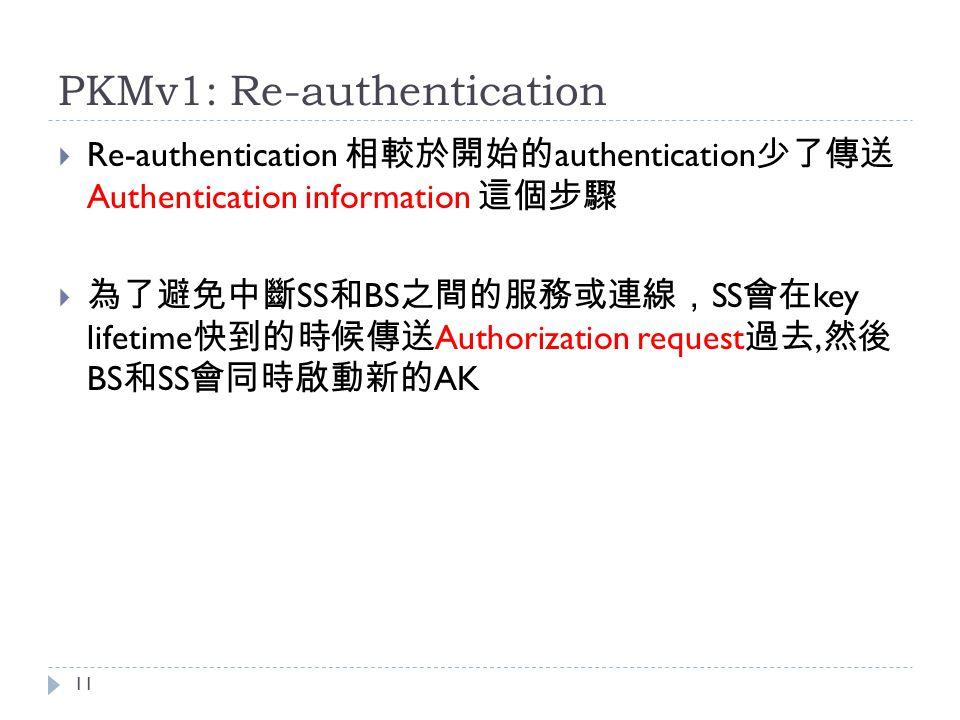 PKMv1: Re-authentication  Re-authentication 相較於開始的 authentication 少了傳送 Authentication information 這個步驟  為了避免中斷 SS 和 BS 之間的服務或連線, SS 會在 key lifetime 快到的時候傳送 Authorization request 過去, 然後 BS 和 SS 會同時啟動新的 AK 11