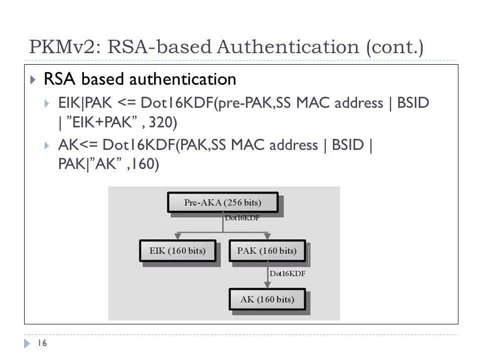PKMv2: RSA-based Authentication (cont.)  RSA based authentication  EIK|PAK <= Dot16KDF(pre-PAK,SS MAC address | BSID | EIK+PAK , 320)  AK<= Dot16KDF(PAK,SS MAC address | BSID | PAK| AK ,160) 16