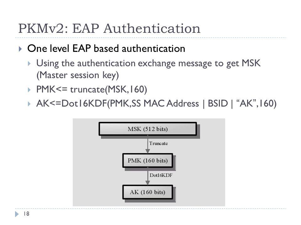 PKMv2: EAP Authentication  One level EAP based authentication  Using the authentication exchange message to get MSK (Master session key)  PMK<= truncate(MSK,160)  AK<=Dot16KDF(PMK,SS MAC Address | BSID | AK ,160) 18