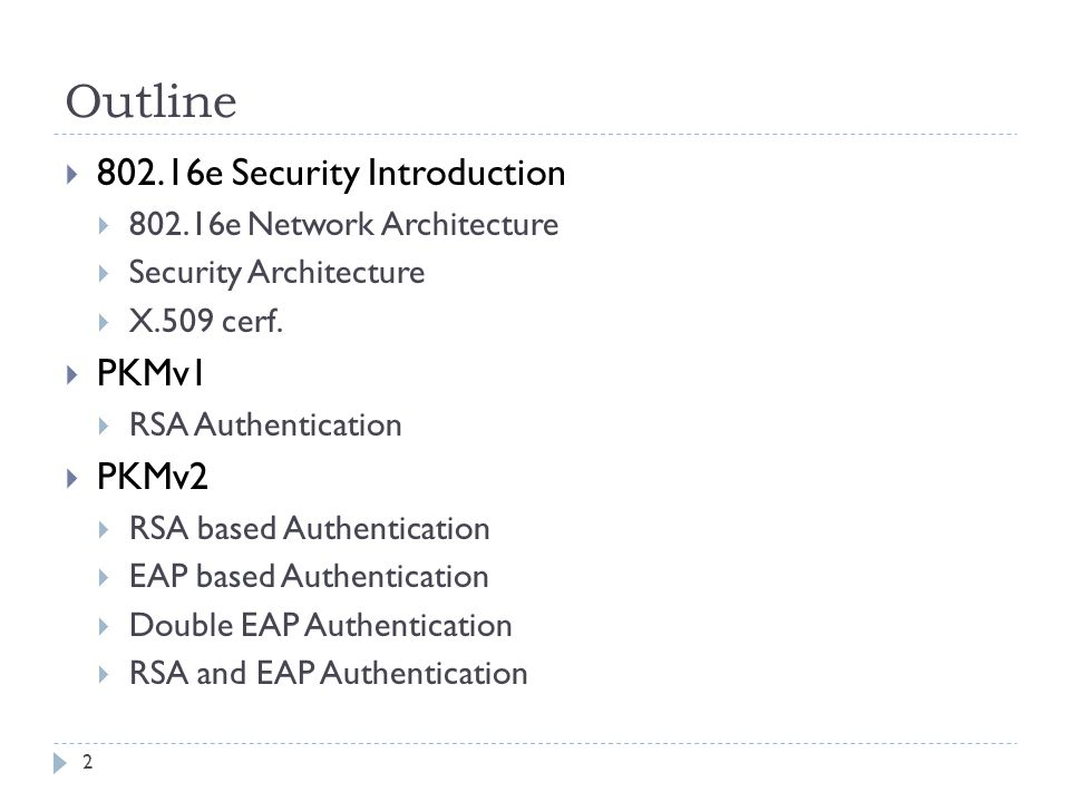 Outline  802.16e Security Introduction  802.16e Network Architecture  Security Architecture  X.509 cerf.