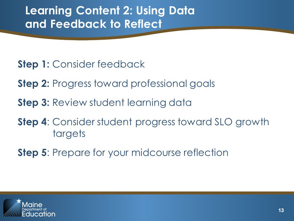Step 1: Consider feedback Step 2: Progress toward professional goals Step 3: Review student learning data Step 4 : Consider student progress toward SL
