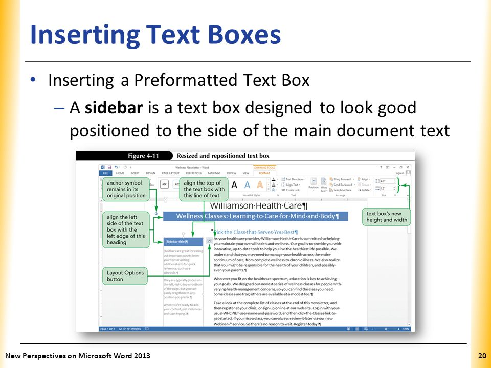 XP Inserting Text Boxes Inserting a Preformatted Text Box – A sidebar is a text box designed to look good positioned to the side of the main document